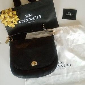 Coach Black Pebbled Leather Turnlock Hobo 24771
